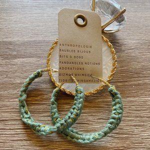 NWT Anthropologie Green Weave Hoop Earrings